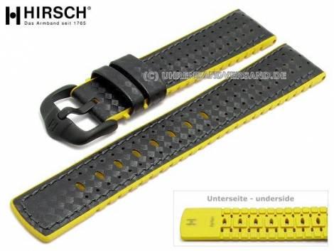 Watch strap -Ayrton- 24mm black leather/caoutchouc carbon look yellow sides by HIRSCH (width of buckle 22 mm) - Bild vergrößern
