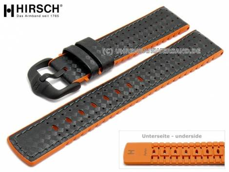 Watch strap -Ayrton- 24mm black leather/caoutchouc carbon look orange sides by HIRSCH (width of buckle 22 mm) - Bild vergrößern