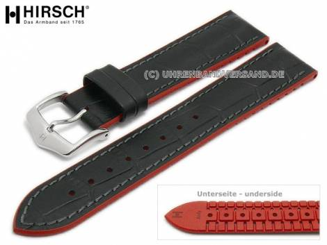 Watch strap -Andy- 20mm black leather/caoutchouc alligator grain red sides by HIRSCH (width of buckle 18 mm) - Bild vergrößern