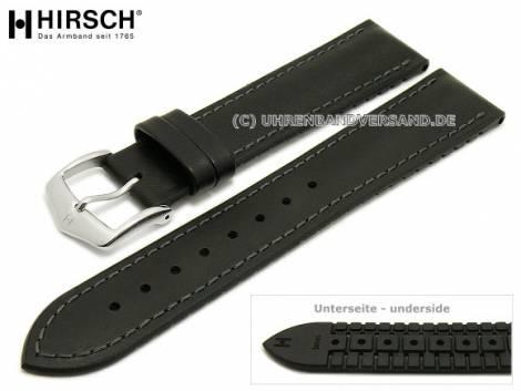 Watch strap -James- 18mm black leather/caoutchouc smooth matt grey stitching by HIRSCH (width of buckle 16 mm) - Bild vergrößern