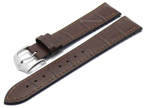 Watch strap -Paul- 20mm dark brown leather/caoutchouc alligator grain stitched by HIRSCH (width of buckle 18 mm) - Bild vergrößern