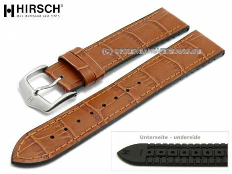 Watch strap -Paul- 20mm light brown leather/caoutchouc alligator grain stitched by HIRSCH (width of buckle 18 mm) - Bild vergrößern