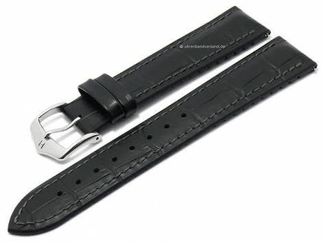 Watch strap -Paul- 24mm black leather/caoutchouc alligator grain grey stitching by HIRSCH (width of buckle 22 mm) - Bild vergrößern