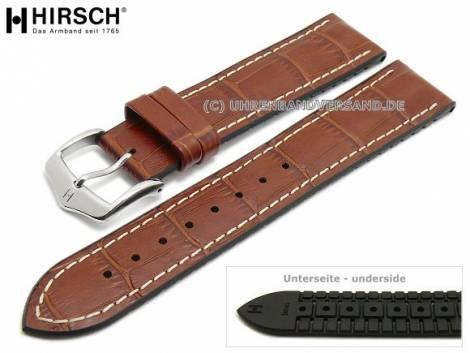 Watch strap -George- 20mm golden brown leather/caoutchouc alligator grain light stitching HIRSCH (width of buckle 18 mm) - Bild vergrößern