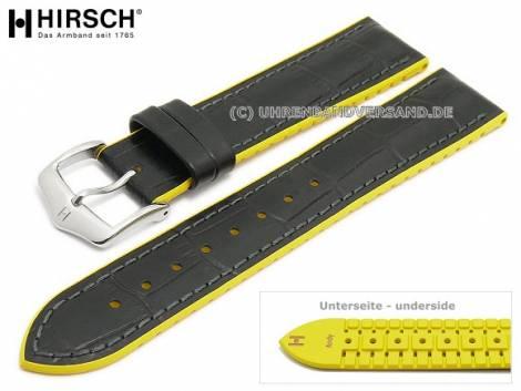 Watch strap -Andy- 20mm black leather/caoutchouc alligator grain yellow sides by HIRSCH (width of buckle 18 mm) - Bild vergrößern