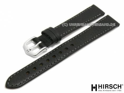 Watch strap -Forest- 14mm black leather grained grey stitching by HIRSCH (width of buckle 12 mm) - Bild vergrößern