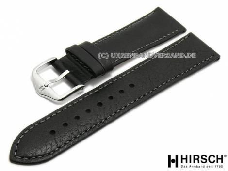 Watch strap -Forest- 18mm black leather grained grey stitching by HIRSCH (width of buckle 16 mm) - Bild vergrößern