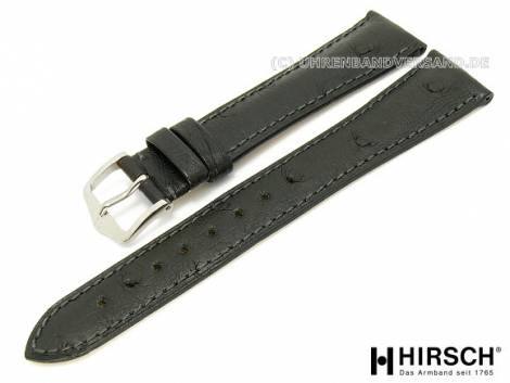 Watch band -Massai- 16mm black stitched ostrich leather by HIRSCH (width of buckle 14 mm) - Bild vergrößern