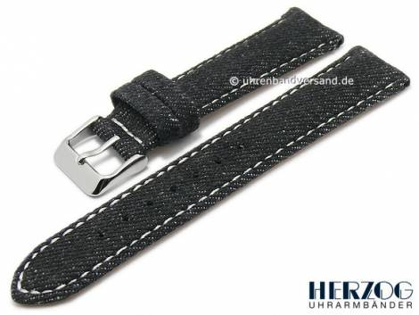 Watch strap -Denim- 22mm black textile jeans look light stitching by HERZOG (width of buckle 20 mm) - Bild vergrößern