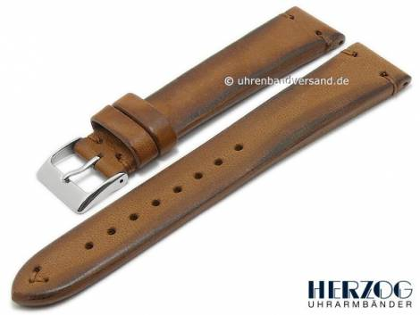 Watch strap -Vintage-Limited- 22mm light brown horse leather vintage look stitched by HERZOG (width of buckle 20 mm) - Bild vergrößern