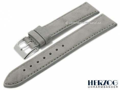 Watch strap -Mailand- 22mm grey leather stitched by HERZOG (width of buckle 20 mm) - Bild vergrößern