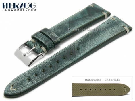 Watch strap -Vintage-Passion- 22mm blue leather antique look light stitching by HERZOG (width of buckle 20 mm) - Bild vergrößern