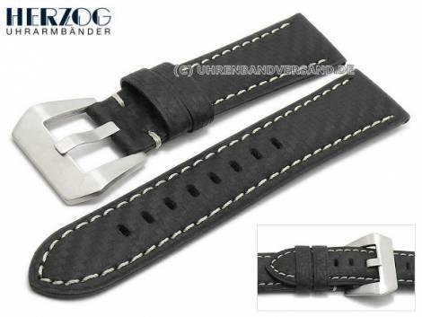 Watch strap -Carbon Chrono- 24mm black leather carbon look light stitching by HERZOG (width of buckle 22 mm) - Bild vergrößern