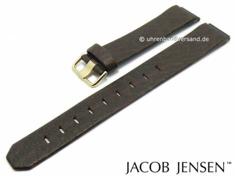 Replacement watch strap JACOB JENSEN 17mm dark brown leather special lug ends for 855 and 857 New Series - Bild vergrößern