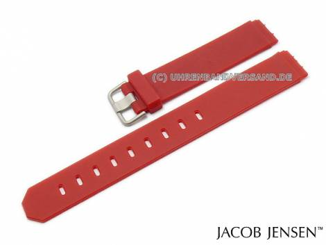 Replacement watch strap JACOB JENSEN 17mm red rubber special lug ends for New Series 751 and 761 - Bild vergrößern