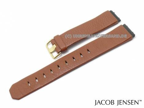 Replacement watch strap JACOB JENSEN 19mm brown leather special lug ends for 844, 845 Dimension - Bild vergrößern