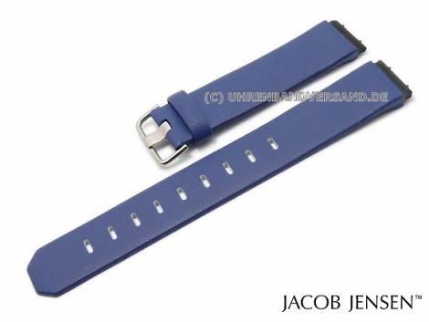 Replacement watch strap JACOB JENSEN 19mm blue leather special lug ends for Chrono 605 Dimension 841 - Bild vergrößern