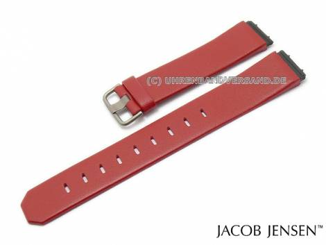 Replacement watch strap JACOB JENSEN 19mm red leather special lug ends for Chrono 601, Dimension 861 - Bild vergrößern