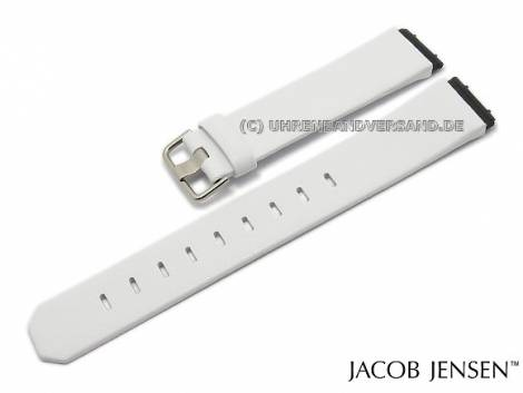 Replacement watch strap JACOB JENSEN 19mm white leather special lug ends for Chrono 606 - Bild vergrößern