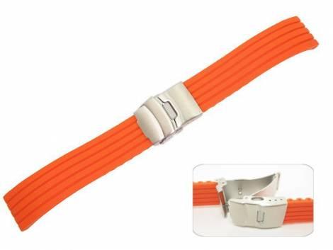Watch band 18mm neon orange silicone structured surface deployant clasp (width of buckle 16 mm) - Bild vergrößern