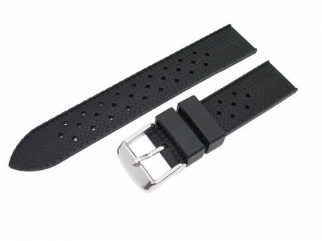 Watch band 22mm black silicone carbon look (width of buckle 20 mm) - Bild vergrößern