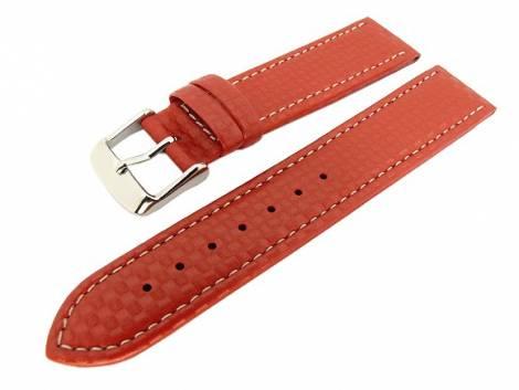Watch band 24mm red carbon look with light seam - Bild vergrößern
