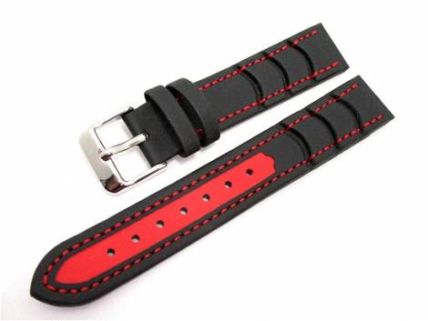 Watch band 18mm black/red EULIT -Surfer- (width of buckle 16 mm) - Bild vergrößern