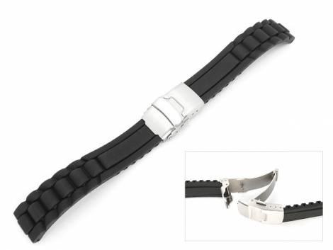 Watch band 20mm black silicone structured surface deployment clasp (width of buckle 18 mm) - Bild vergrößern