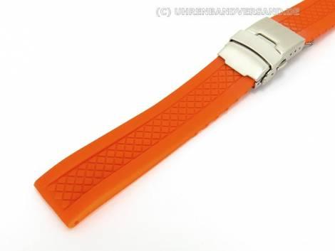Watch band 24mm orange silicone deployment clasp by Eichmueller (width of buckle 22 mm) - Bild vergrößern