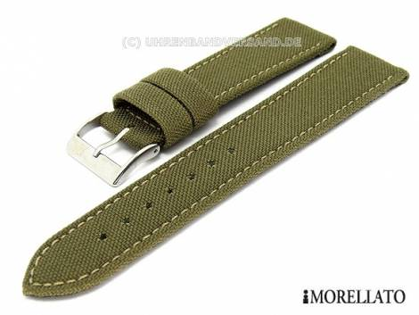 Watch strap 20mm olive-green -Cordura- synthetic textile stitched by MORELLATO (width of buckle 18 mm) - Bild vergrößern