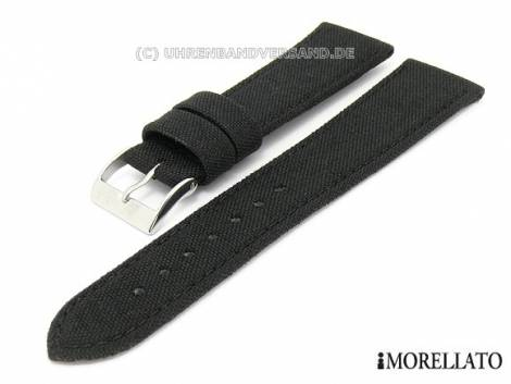 Watch strap 20mm black -Cordura- synthetic textile stitched by MORELLATO (width of buckle 18 mm) - Bild vergrößern