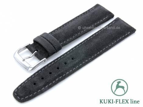 Watch strap 20mm anthracite leather VEGAN Alcantara KUKI-FLEX Patent stitched by KUKI (width of buckle 18 mm) - Bild vergrößern