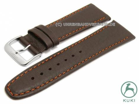 Watch strap L (long) -Simba- 24mm dark brown leather grained matt orange stitching by KUKI (width of buckle 20 mm) - Bild vergrößern