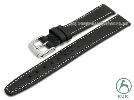 Watch strap L (long) -Simba- 12mm black leather grained matt light stitching by KUKI (width of buckle 10 mm) - Bild vergrößern