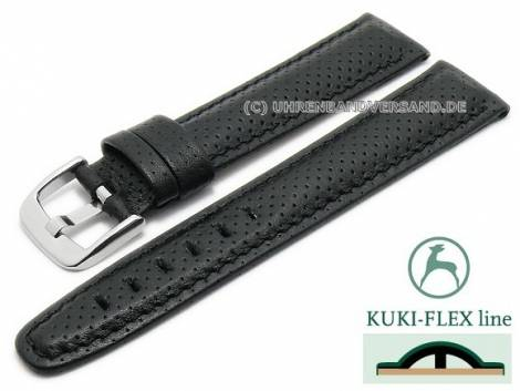 Watch strap 20mm black leather KUKI-FLEX Patent perforated stitched by KUKI (width of buckle 18 mm) - Bild vergrößern