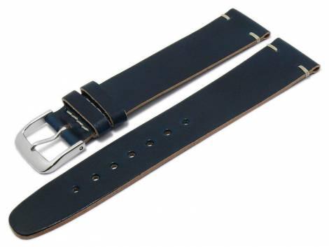Deluxe-Watch strap 21mm dark blue HORWEEN SHELL CORDOVAN leather smooth light stitching by KUKI (width of buckle 18 mm) - Bild vergrößern