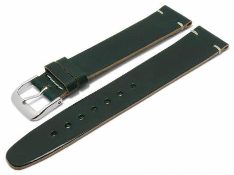 Deluxe-Watch strap 21mm dark green HORWEEN SHELL CORDOVAN leather smooth light stitching by KUKI (width of buckle 18 mm) - Bild vergrößern