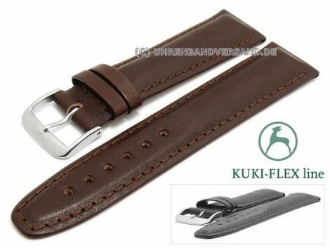 Watch strap 21mm dark brown leather KUKI-FLEX Patent stitched by KUKI (width of buckle 18 mm) - Bild vergrößern