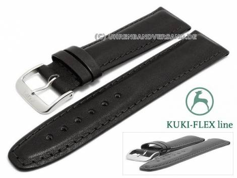 Watch strap 20mm black leather KUKI-FLEX Patent stitched by KUKI (width of buckle 18 mm) - Bild vergrößern