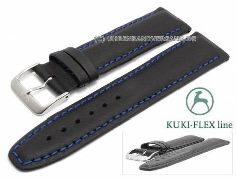 Watch strap 21mm black leather KUKI-FLEX Patent blue stitching by KUKI (width of buckle 18 mm) - Bild vergrößern