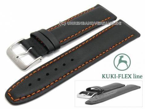 Watch strap L (long) 24mm black leather KUKI-FLEX Patent orange stitching by KUKI (width of buckle 20 mm) - Bild vergrößern