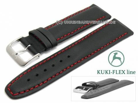 Watch strap 21mm black leather KUKI-FLEX Patent red stitching by KUKI (width of buckle 18 mm) - Bild vergrößern