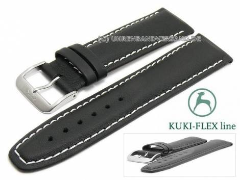 Watch strap L (long) 22mm black leather KUKI-FLEX Patent light stitching by KUKI (width of buckle 20 mm) - Bild vergrößern