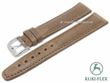 Deluxe-Watch strap 24mm light brown HORWEEN CHROMEXCEL leather KUKI-FLEX stitched by KUKI (width of buckle 20 mm) - Bild vergrößern