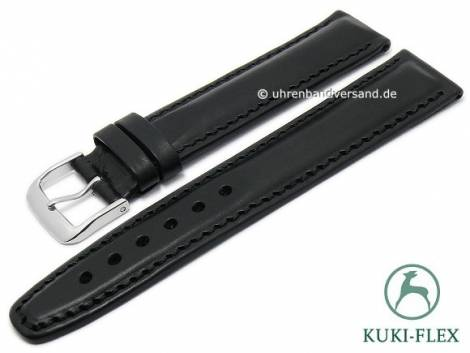 Deluxe-Watch strap 18mm black HORWEEN CHROMEXCEL leather KUKI-FLEX stitched by KUKI (width of buckle 18 mm) - Bild vergrößern