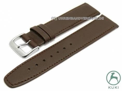 Watch strap 18mm dark brown leather smooth matt stitched very thin by KUKI (width of buckle 16 mm) - Bild vergrößern