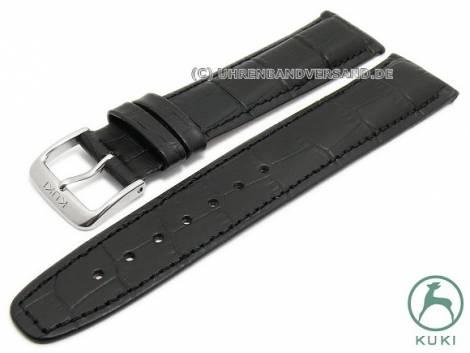 Watch strap 22mm black leather alligator grain stitched strap thickness very thin by KUKI (width of buckle 20 mm) - Bild vergrößern