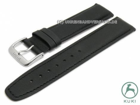 Watch strap 20mm black leather smooth stitched strap thickness very thin by KUKI (width of buckle 18 mm) - Bild vergrößern