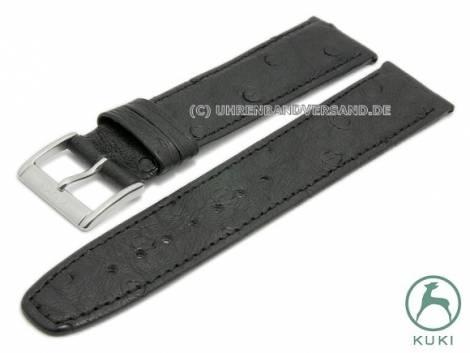 Watch strap 18mm black leather genuine ostrich very thin stitched by KUKI (width of buckle 16 mm) - Bild vergrößern