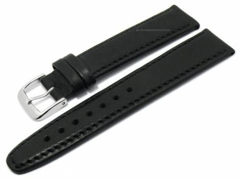 Deluxe-Watch strap 21mm black HORWEEN ESSEX leather KUKI-FLEX vegetable tanned by KUKI (width of buckle 18 mm) - Bild vergrößern